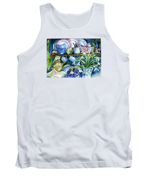 Snowdrops On A Kitchen Dresser Tank Top by Trudi Doyle