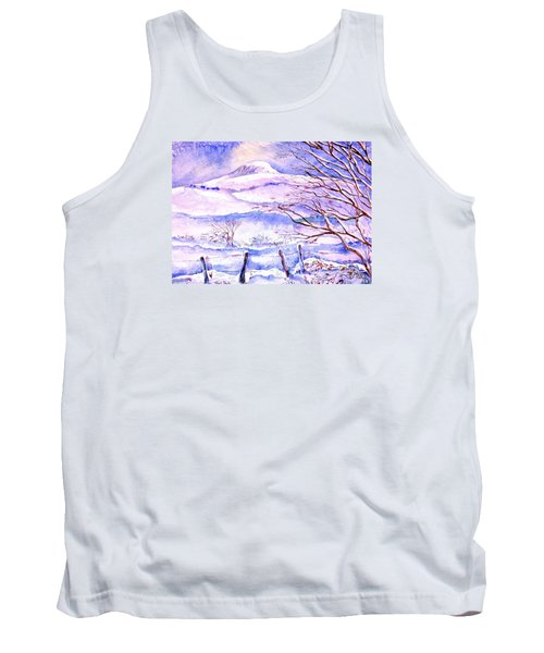 Snowfall On Eagle Hill Hacketstown Ireland  Tank Top by Trudi Doyle