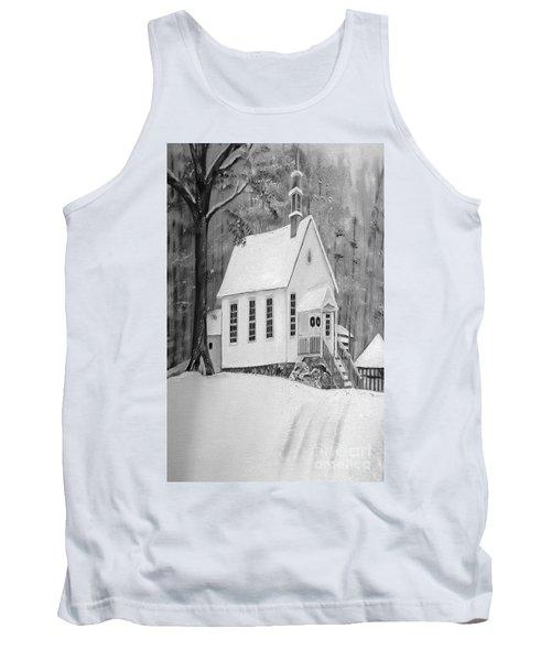 Snowy Gates Chapel -white Church - Portrait View Tank Top