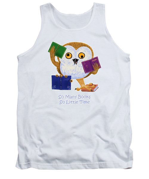 Tank Top featuring the painting So Many Books So Little Time by Leena Pekkalainen