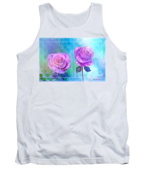 Tank Top featuring the painting Soft And Beautiful Roses by Annie Zeno