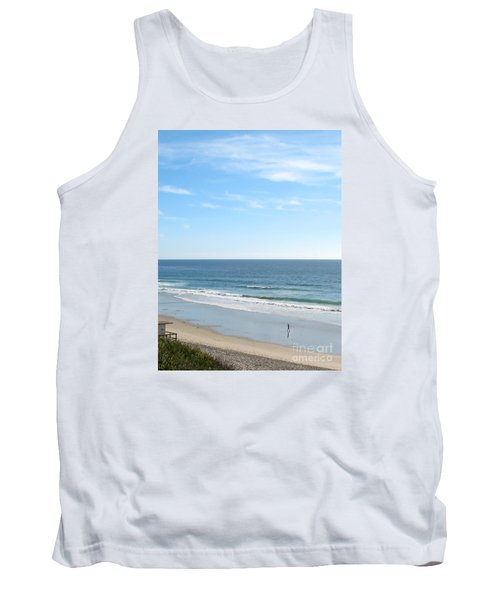 Solo Walk On Southern California Beach Tank Top by Connie Fox