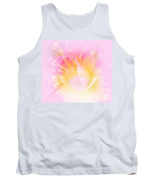 Tank Top featuring the photograph Sparkling Starlight Burst Abstract by Judy Palkimas