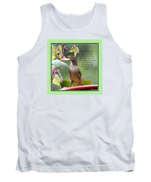 Sparrow Inspiration From The Book Of Luke Tank Top by Catherine Sherman