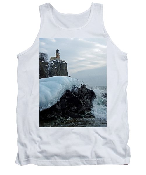 Tank Top featuring the photograph Split Rock Lighthouse Winter by James Peterson