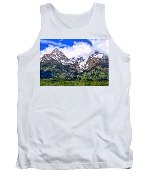 Tank Top featuring the painting Spring In The Grand Tetons by Michael Pickett