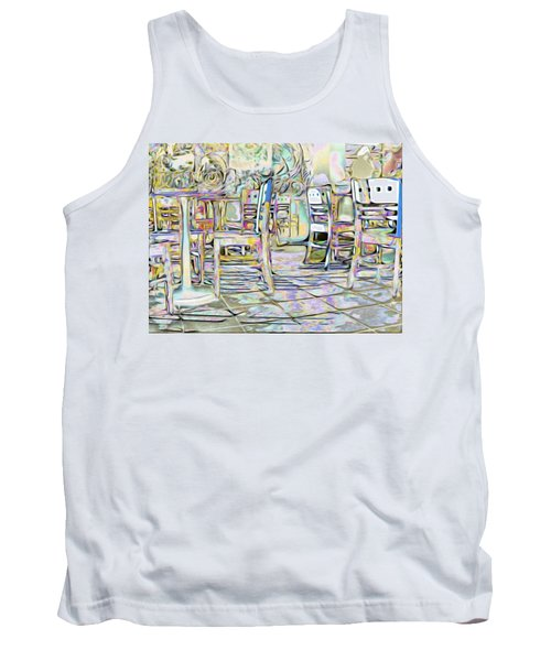 Tank Top featuring the digital art Starbucks After Hours by Mark Greenberg