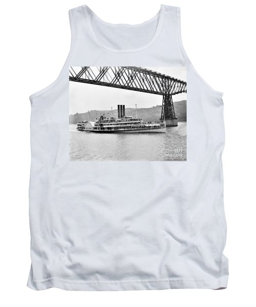 Steamer Albany Under Poughkeepsie Trestle Black And White Tank Top