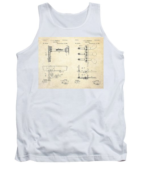 1885 Steinway Piano Pedal Patent Art Tank Top by Gary Bodnar