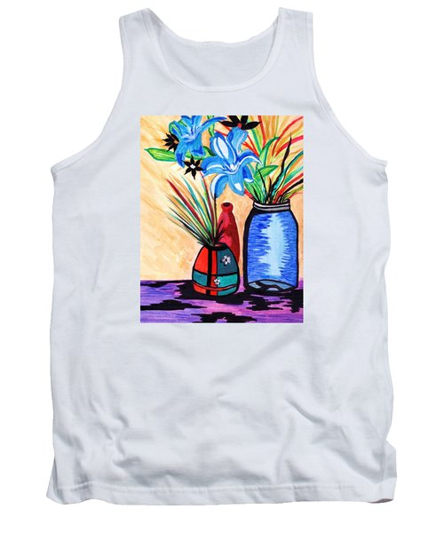 Tank Top featuring the painting Still Life Flowers by Connie Valasco
