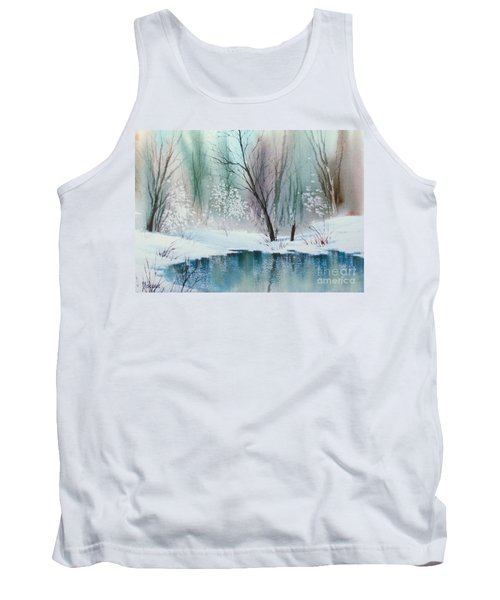 Stream Cove In Winter Tank Top by Teresa Ascone