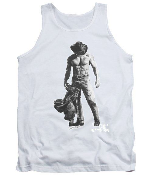 Tank Top featuring the drawing Strength Of A Cowboy by Marianne NANA Betts