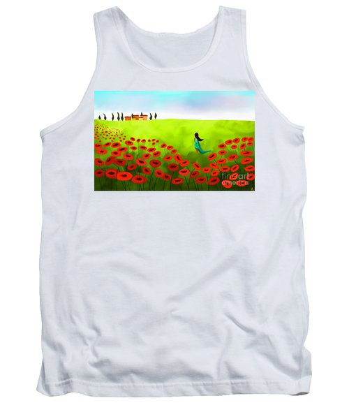 Strolling Among The Red Poppies Tank Top