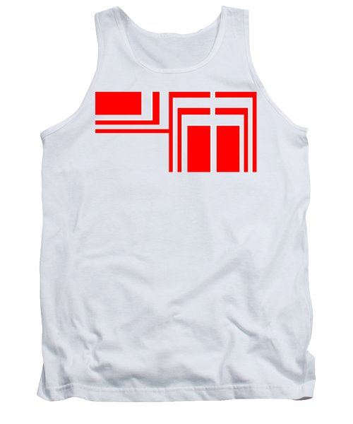Tank Top featuring the digital art Study In White And Red by Cletis Stump