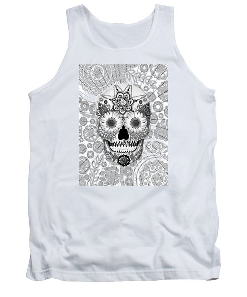 Sugar Skull Bleached Bones - Copyrighted Tank Top by Christopher Beikmann