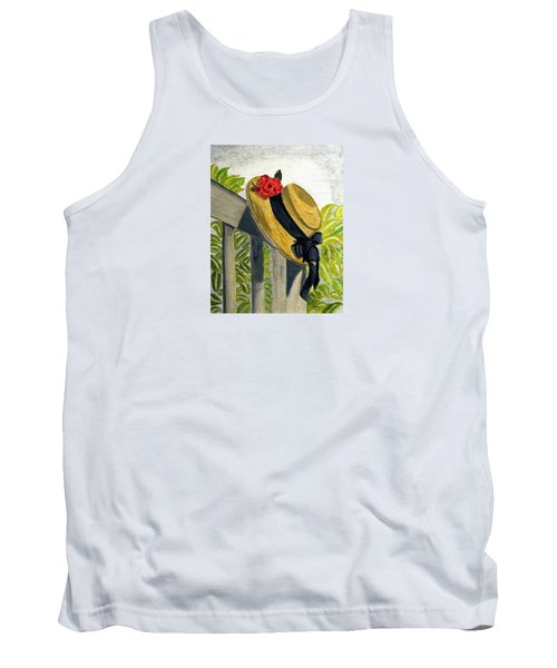 Tank Top featuring the painting Summer Hat by Angela Davies