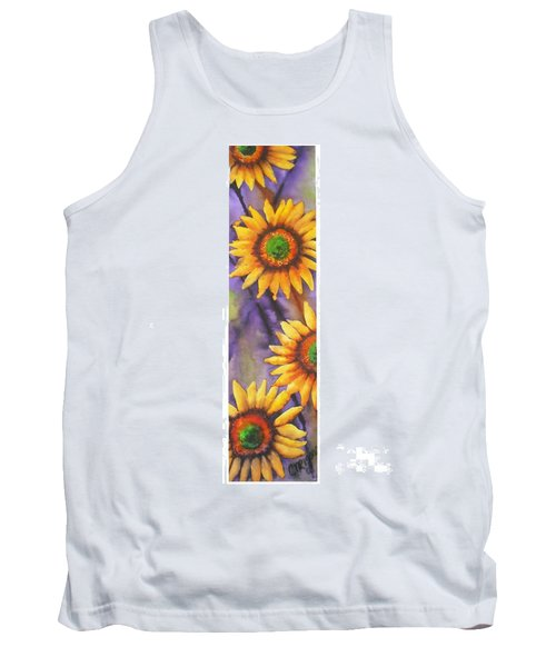 Tank Top featuring the painting Sunflower Abstract  by Chrisann Ellis