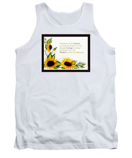 Sunflowers And Serenity Prayer Tank Top by Barbara Griffin