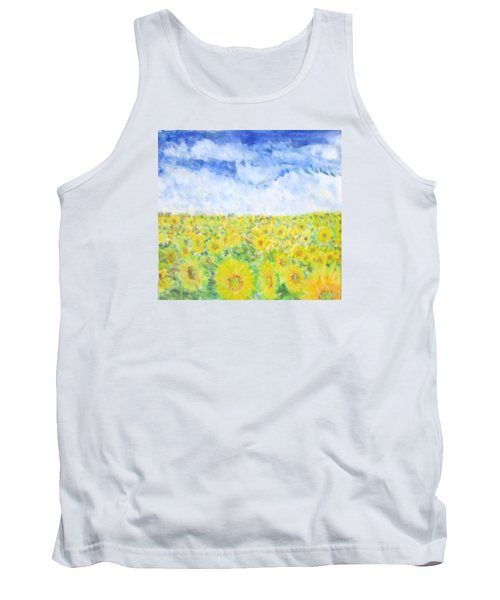 Sunflowers In A Field In  Texas Tank Top