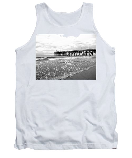 Tank Top featuring the photograph Sunrise At Surfside Bw by Barbara McDevitt
