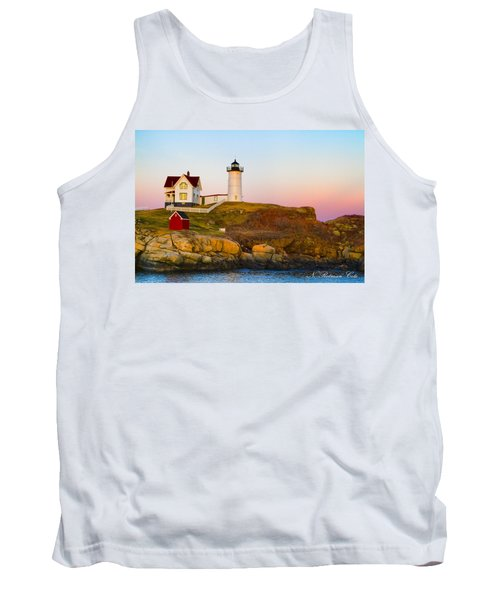 Sunset At Nubble Lighthouse Tank Top