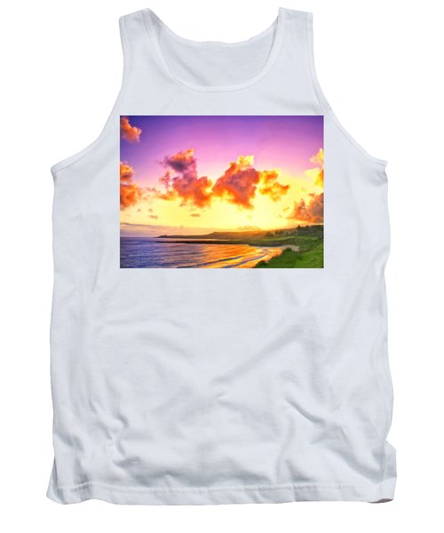 Sunset At Oneloa Beach Maui Tank Top