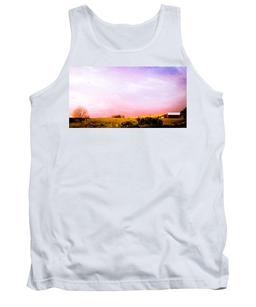Tank Top featuring the photograph Sunset At The Farm by Sara Frank