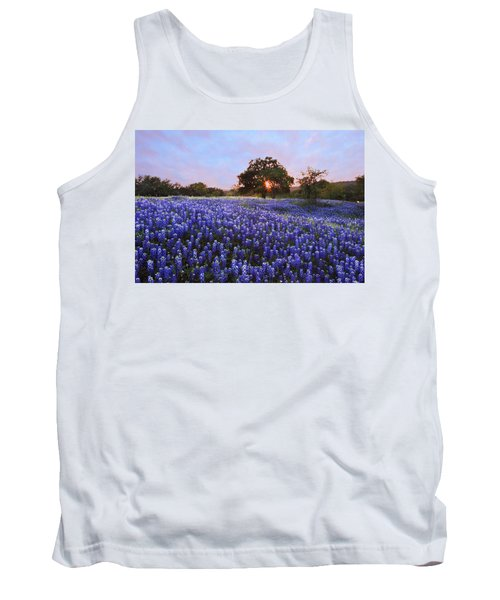 Sunset In Bluebonnet Field Tank Top