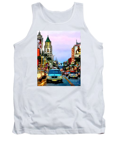 Tank Top featuring the digital art Sunset On Hollywood Blvd by Jennie Breeze