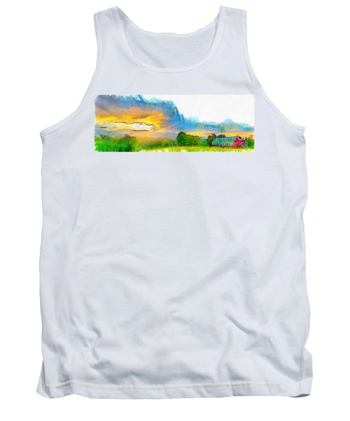Sunset On The Farm Pencil Tank Top
