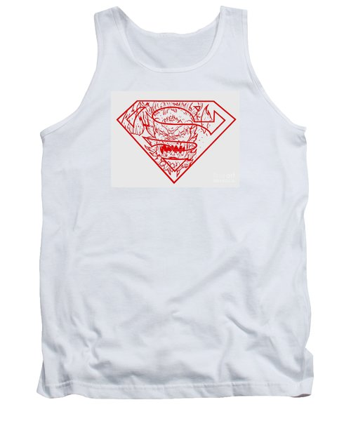 Tank Top featuring the drawing Superman And Doomsday Red by Justin Moore