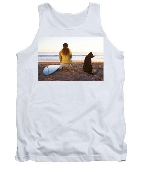 Surfer Woman And Dog On Beach Tank Top