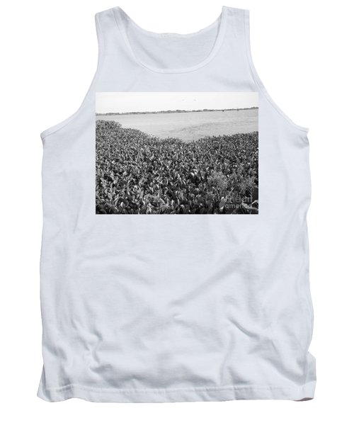 Tank Top featuring the photograph Swamp Hyacinths Water Lillies Black And White by Joseph Baril