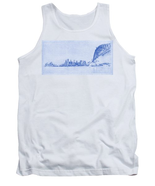 Sydney Skyline Blueprint Tank Top by Kaleidoscopik Photography