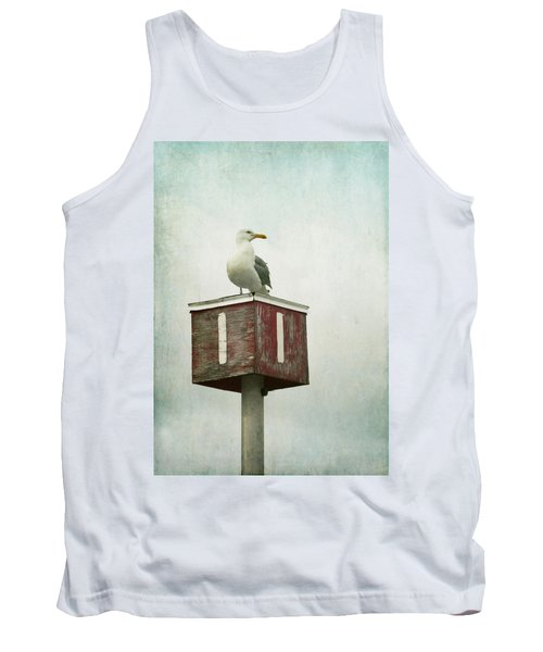Tank Top featuring the photograph Gull With Blue And Red by Brooke T Ryan