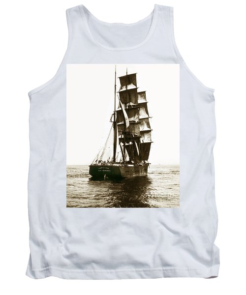 Tank Top featuring the photograph Tall Ship Germania Out Of San Francisco California  Circa 1900 by California Views Mr Pat Hathaway Archives