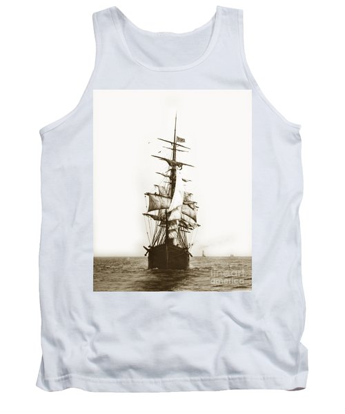 Tank Top featuring the photograph Tall Ship Sailing Out Of San Francisco California Circa 1900 by California Views Mr Pat Hathaway Archives