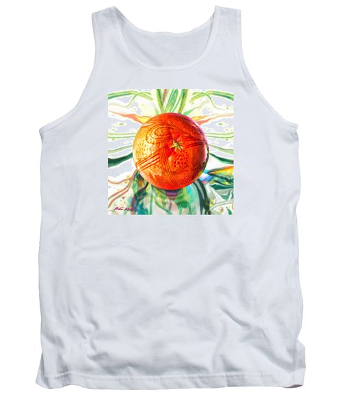 Tank Top featuring the painting Tangerine Orb Nouveau by Robin Moline