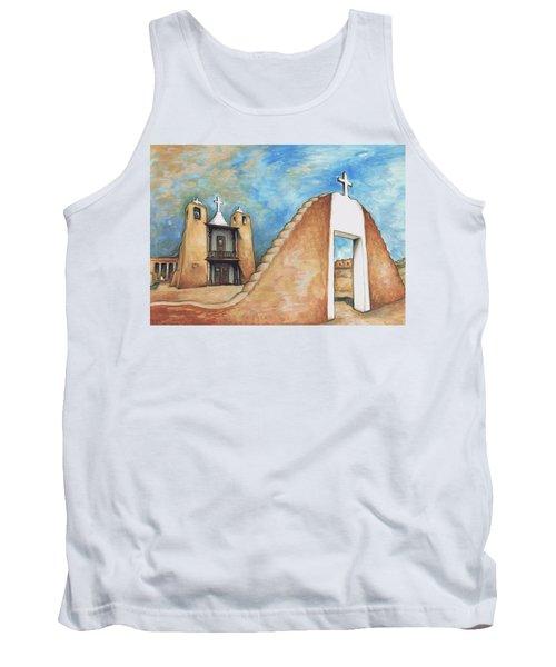 Taos Pueblo New Mexico - Watercolor Art Painting Tank Top