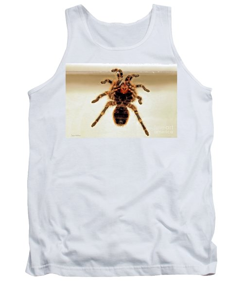 Tank Top featuring the photograph Tarantula Hanging On Glass by Susan Wiedmann
