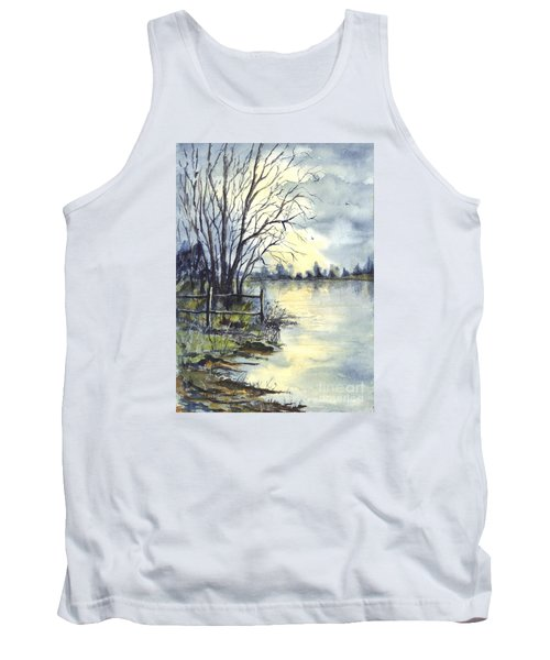 Moonlight Reflections In Loch Tarn In Scotland Tank Top