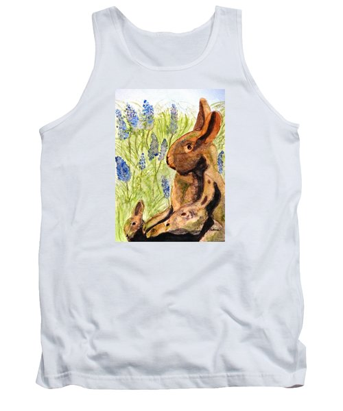 Tank Top featuring the painting Terra Cotta Bunny Family by Angela Davies