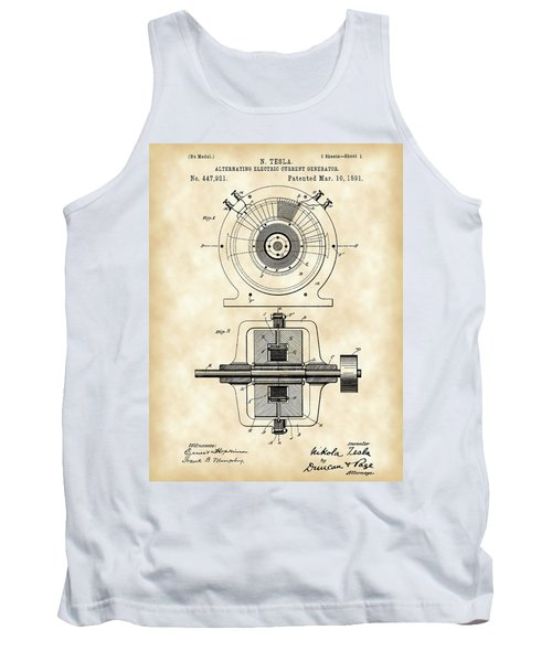 Tesla Alternating Electric Current Generator Patent 1891 - Vintage Tank Top by Stephen Younts