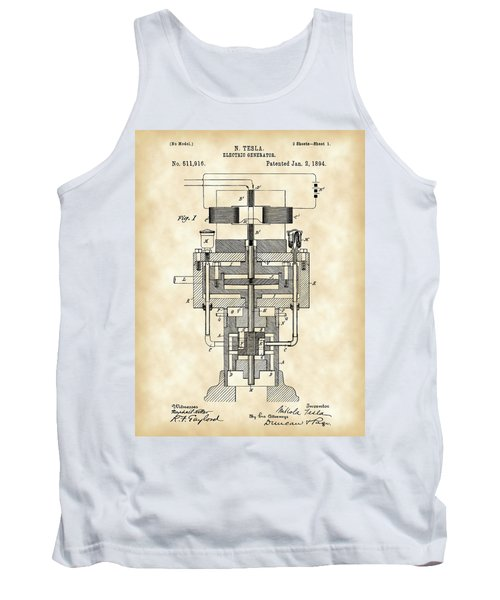 Tesla Electric Generator Patent 1894 - Vintage Tank Top by Stephen Younts