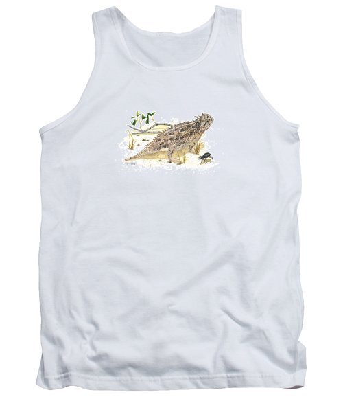 Texas Horned Lizard Tank Top by Cindy Hitchcock
