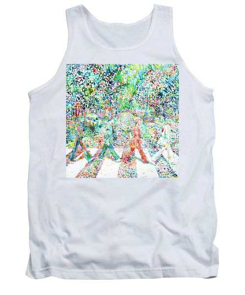 The Beatles - Abbey Road - Watercolor Painting Tank Top