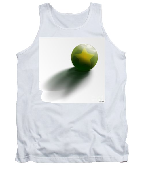 Tank Top featuring the digital art Green Ball Decorated With Star White Background by R Muirhead Art
