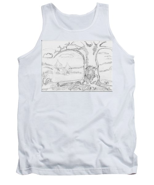 Tank Top featuring the painting The Big Oak  by Felicia Tica