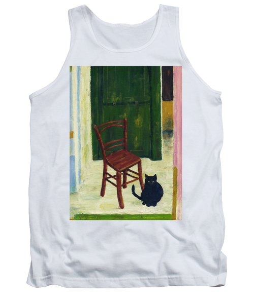 Tank Top featuring the painting The  Black Cat by Hartmut Jager