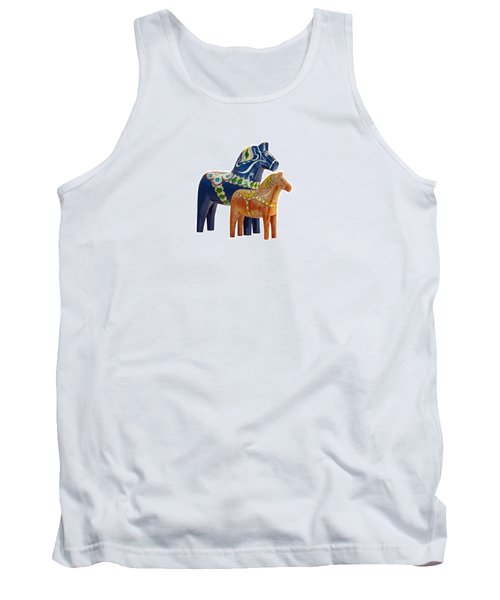 The Blue And Red Dala Horse Tank Top by Torbjorn Swenelius
